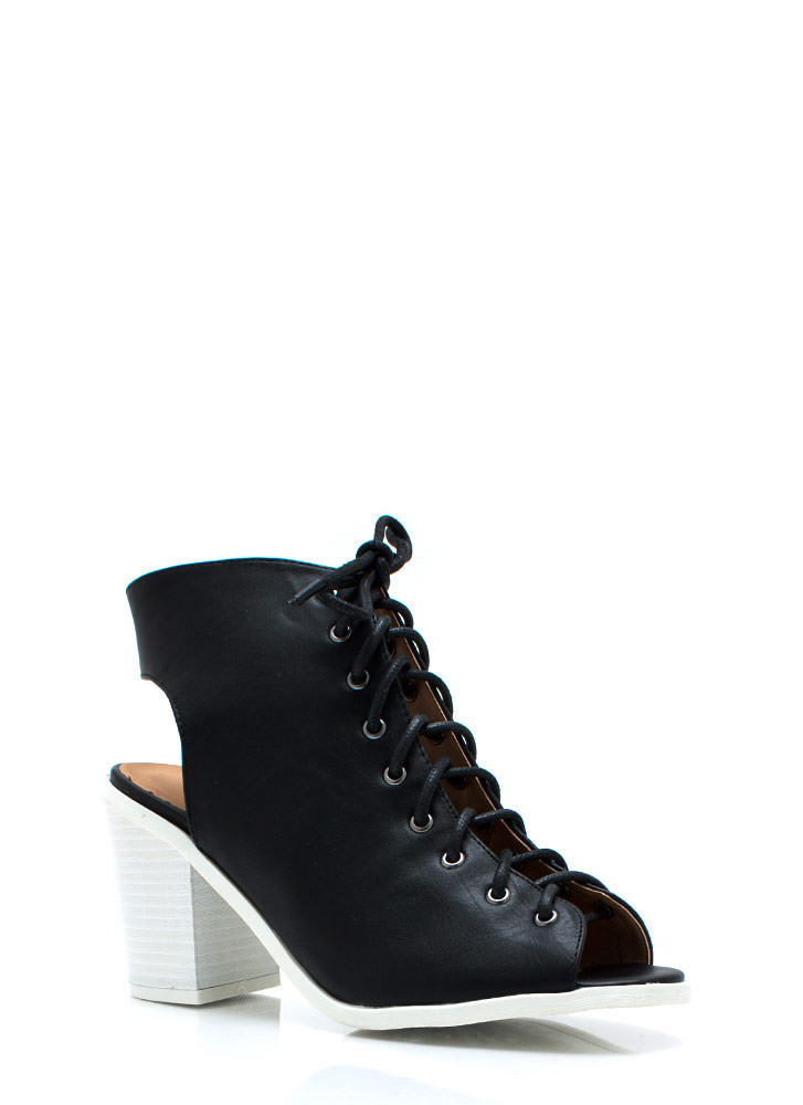 Lace-Up Cut-Out Booties BLACK