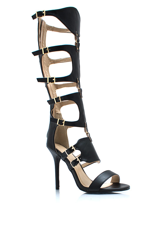 Stay Guarded Gladiator Heels BLACK