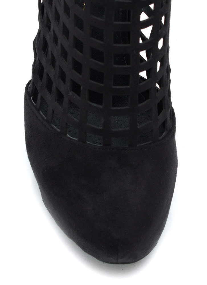 Latticed Windowpane Booties BLACK