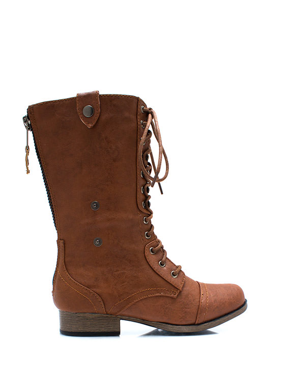 Button Down Combat Boots WHISKY