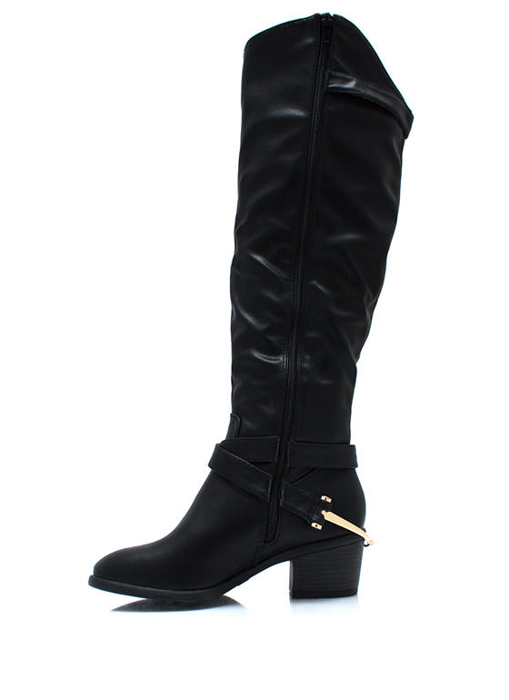 Buckled Equestrian Accent Boots BLACK