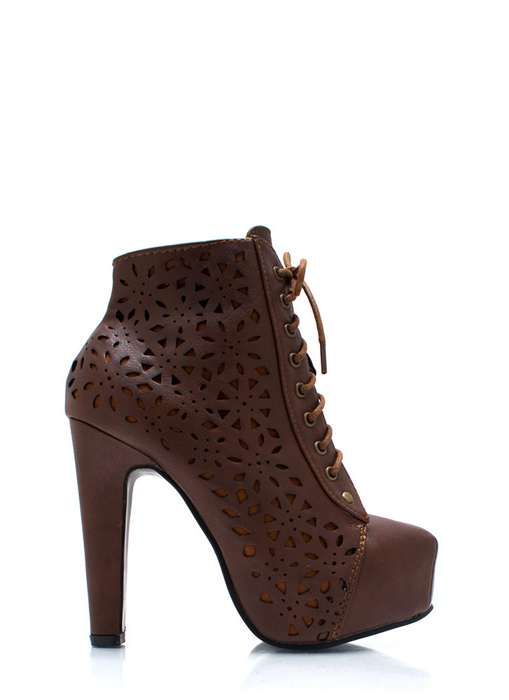 Laser Tagged Cut Out Booties CHESTNUT