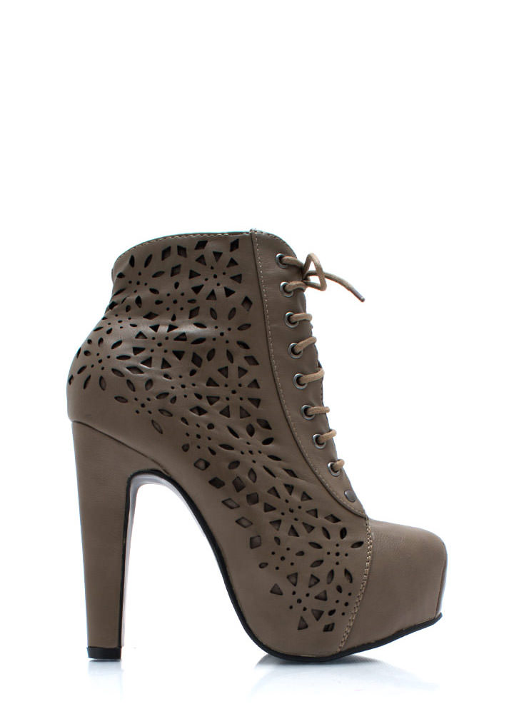 Laser Tagged Cut Out Booties TAUPE