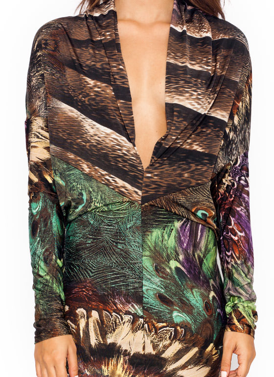 Peacock Strut Plunging Dress RUSTBROWN