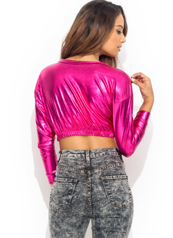 Shining Moment Cropped Top FUCHSIA