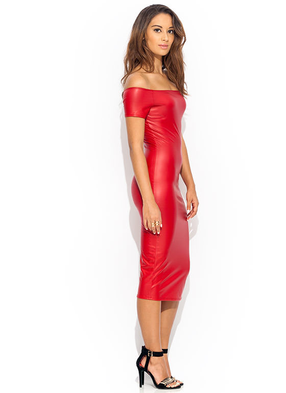 Rub Shoulders Slick Midi Dress RED