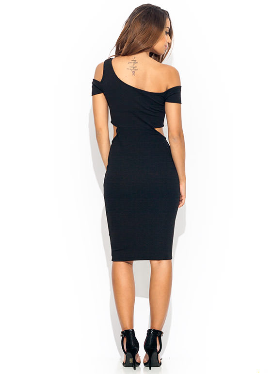 Singled Out Cut Out Midi Dress BLACK