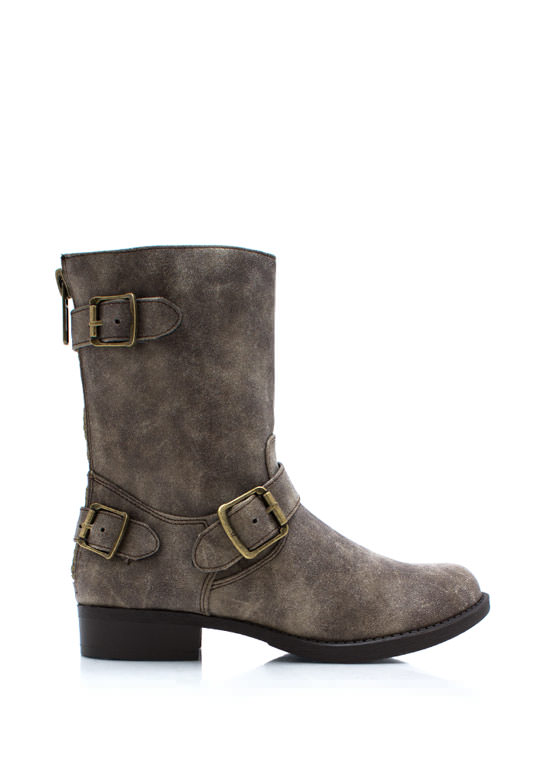 Tri Buckle Moto Boots TAUPE