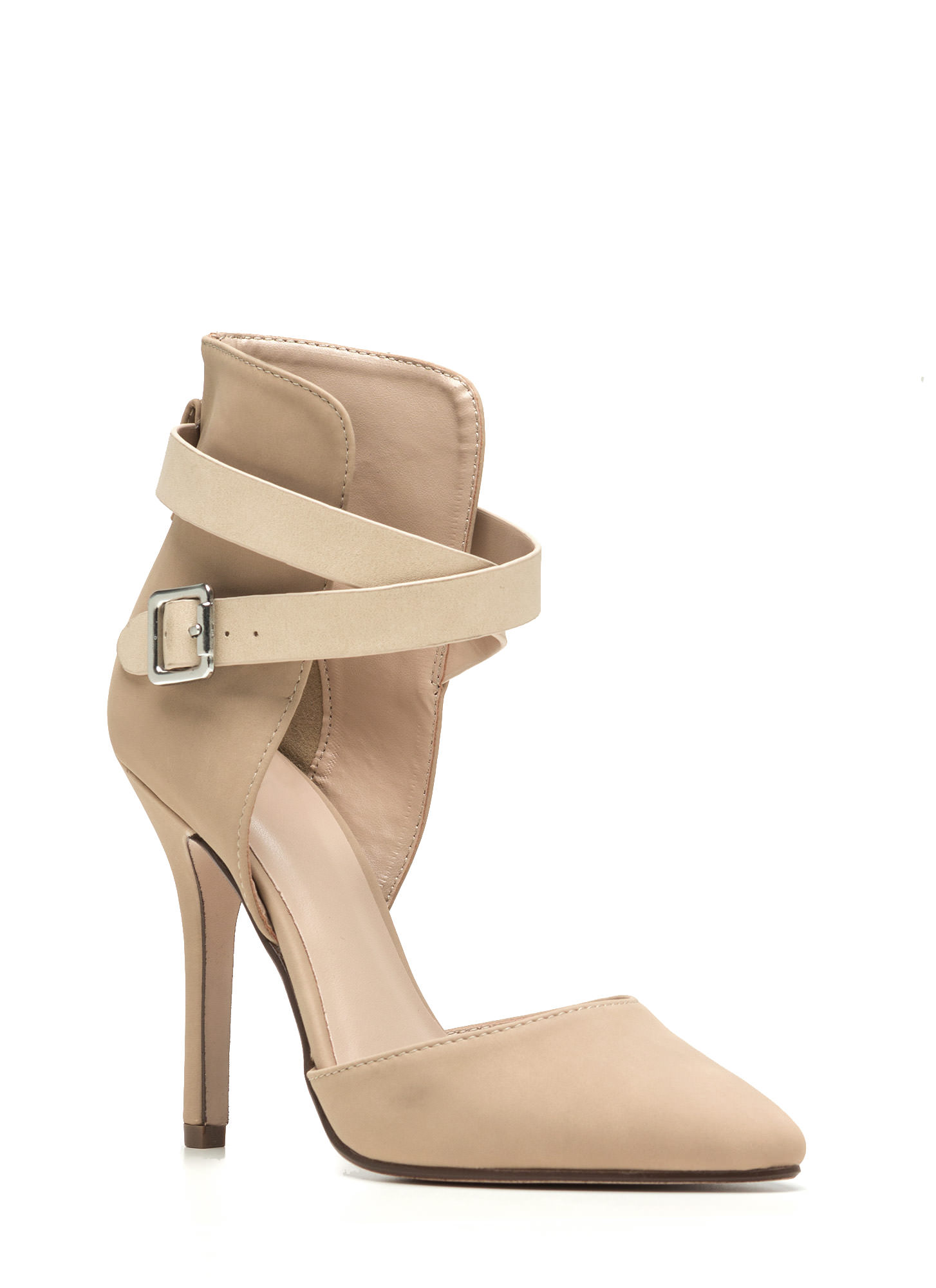 Strap Magic Pointy Heels OATMEAL