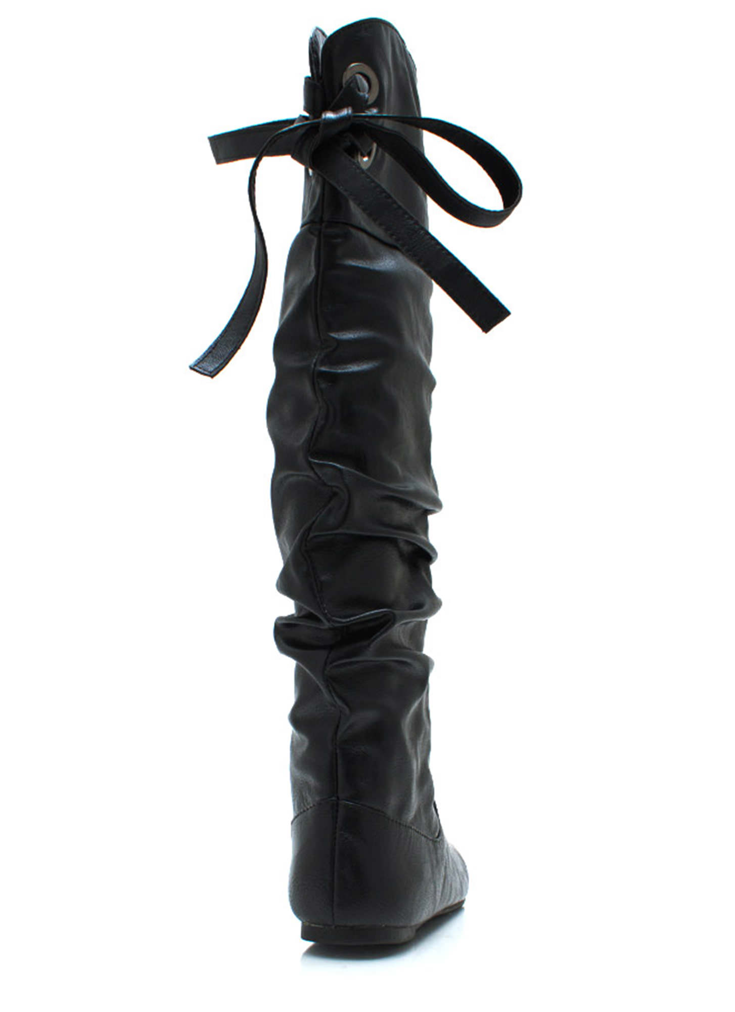 Laced Warrior Slouchy Boots BLACK