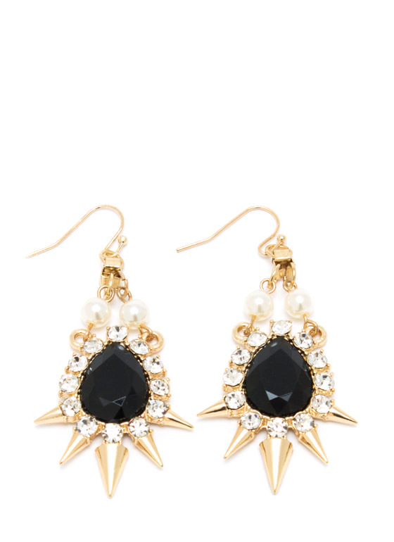 Spike Tacular Faux Jewel Earrings BLACKGOLD