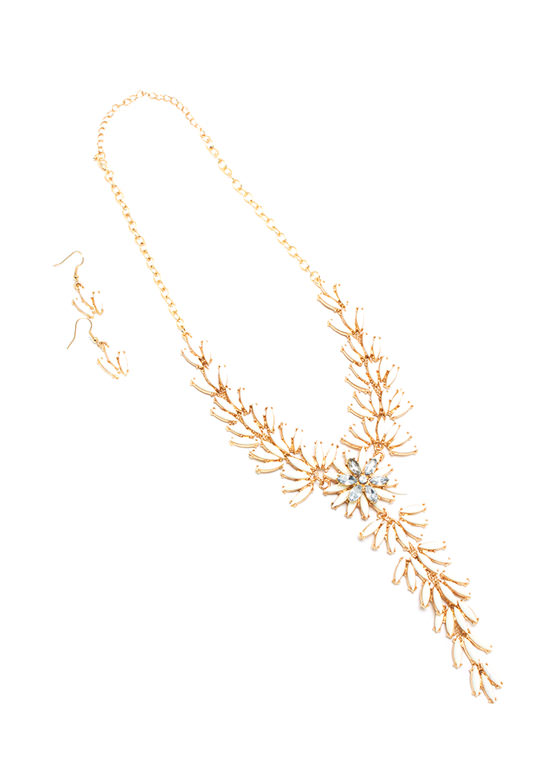 Leaf It To Me Necklace Set CREAMGOLD