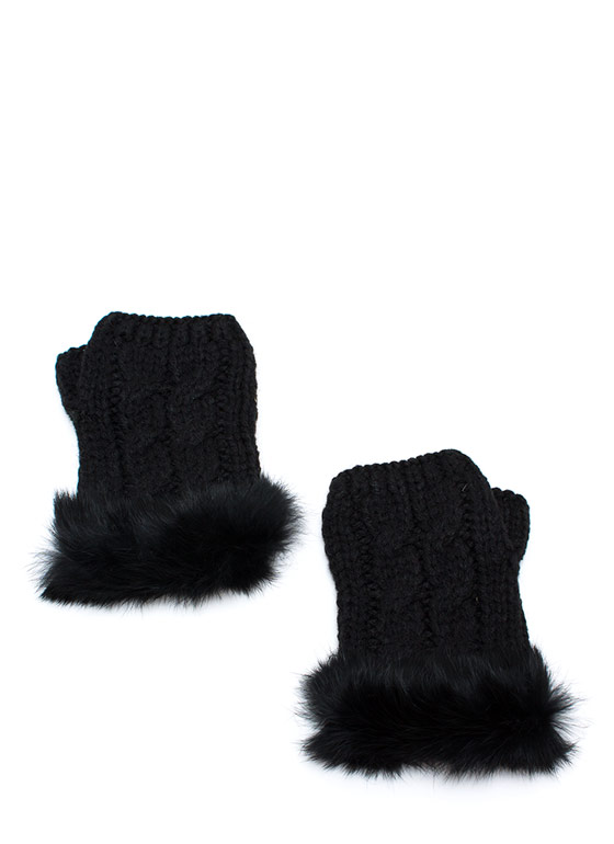 Furry Cable Fingerless Mittens BLACK