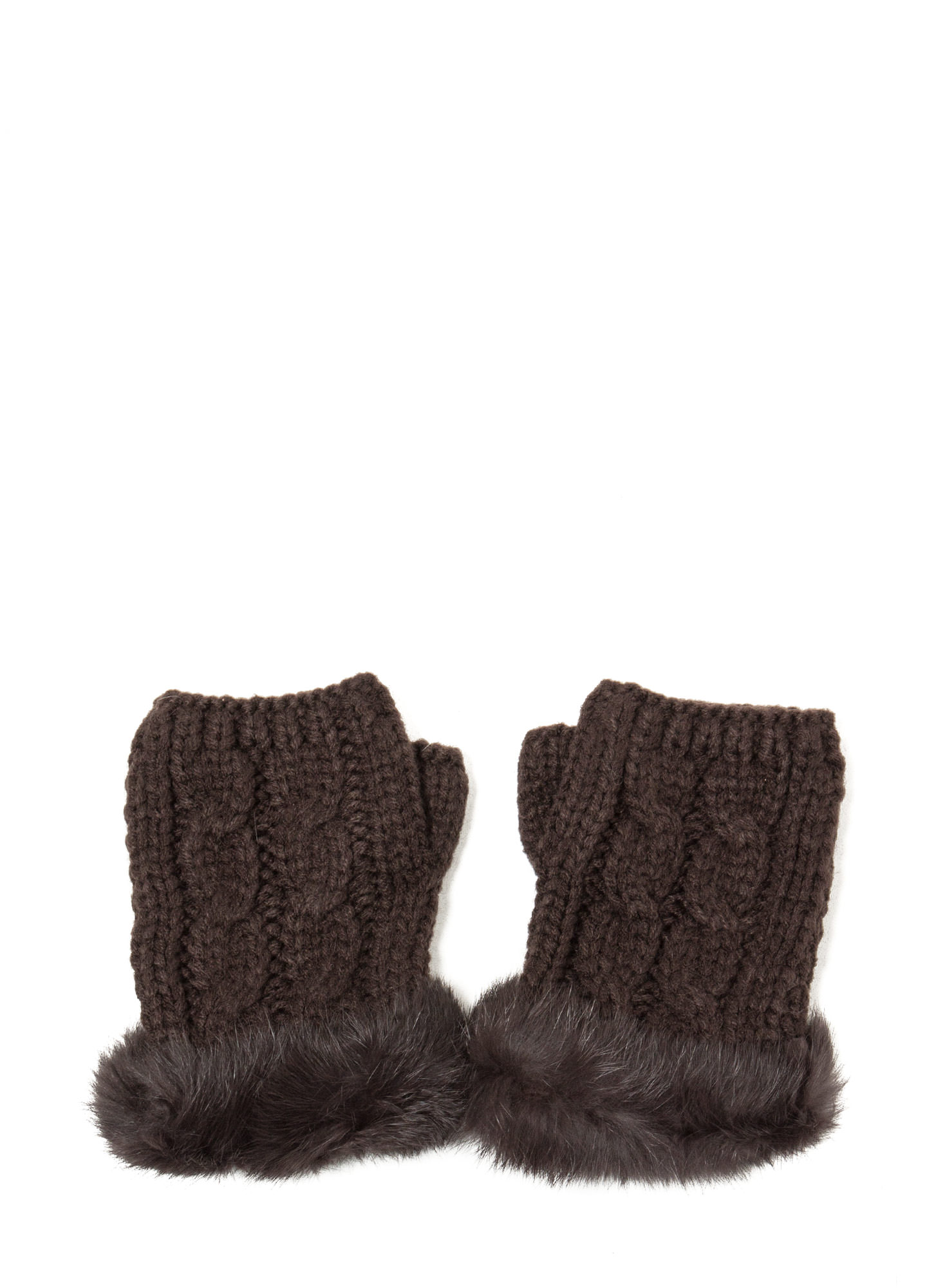Furry Cable Fingerless Mittens BROWN