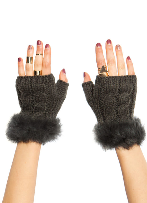 Furry Cable Fingerless Mittens CHARCOAL