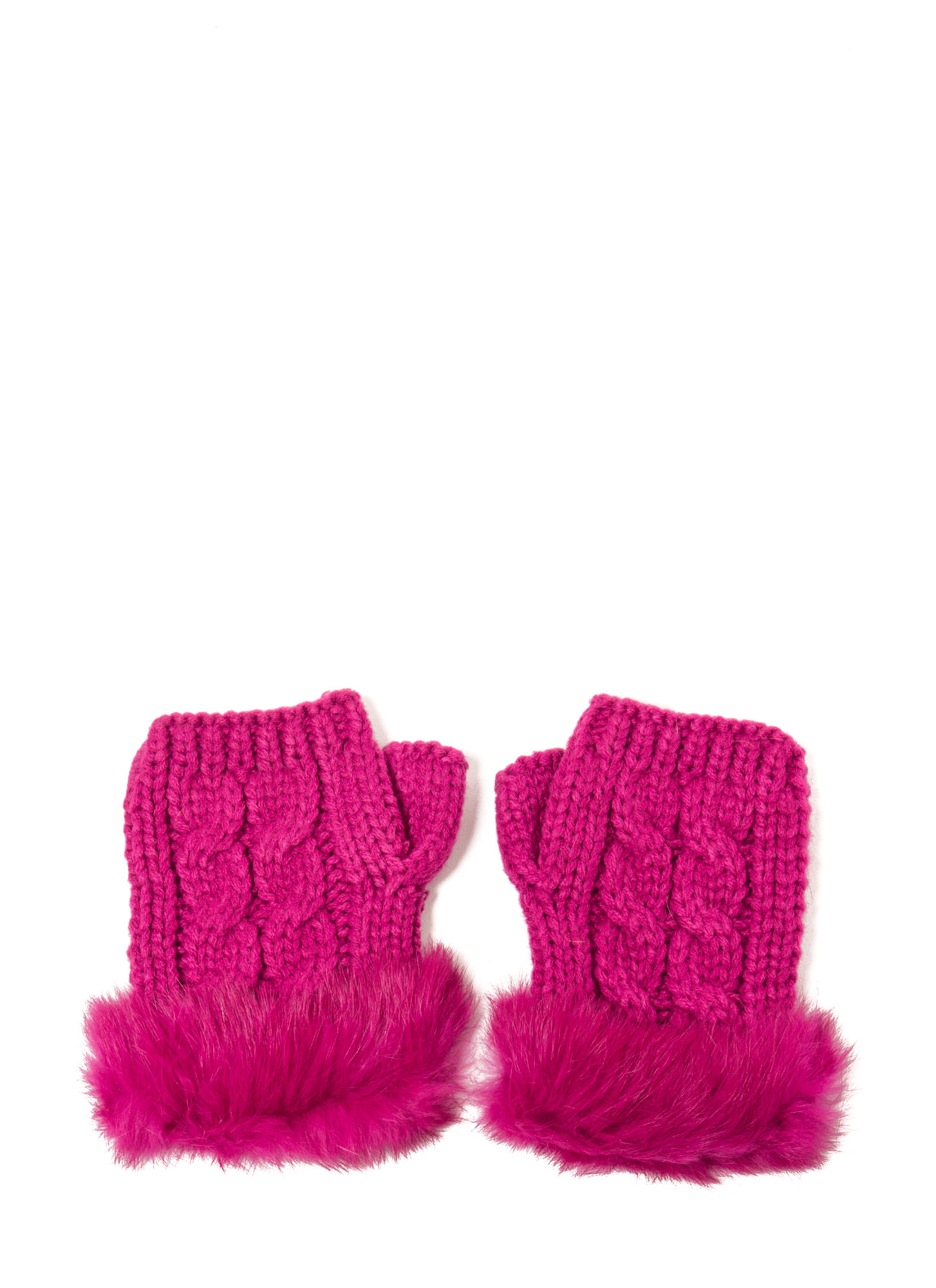 Furry Cable Fingerless Mittens HOTPINK