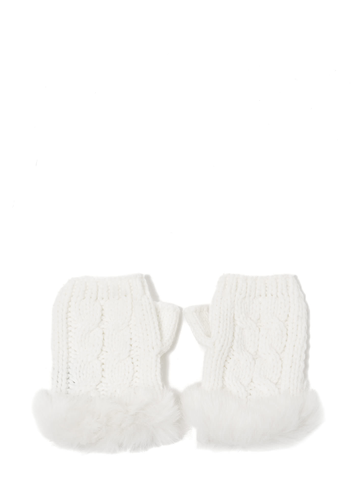 Furry Cable Fingerless Mittens IVORY