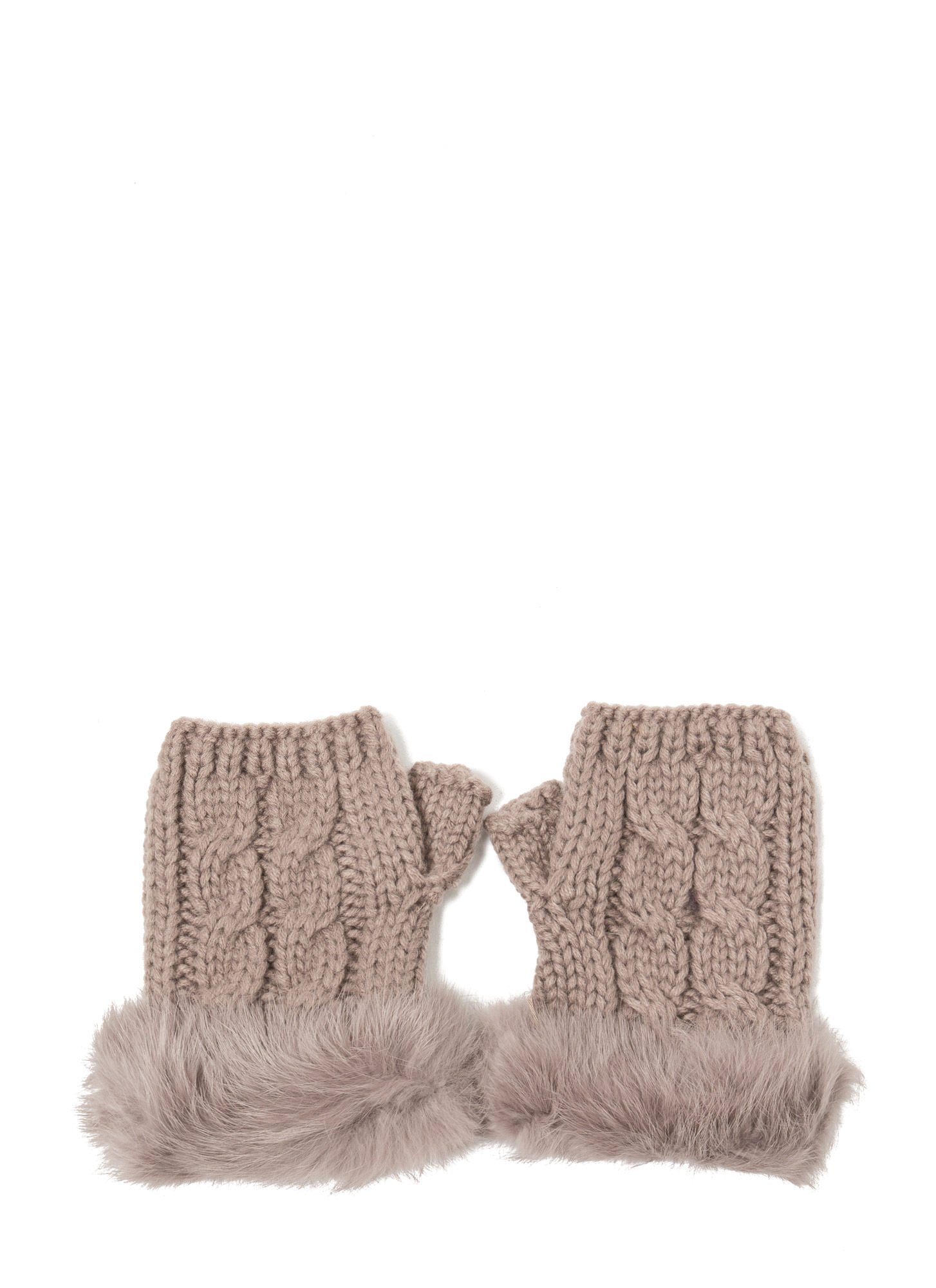 Furry Cable Fingerless Mittens MOCHA
