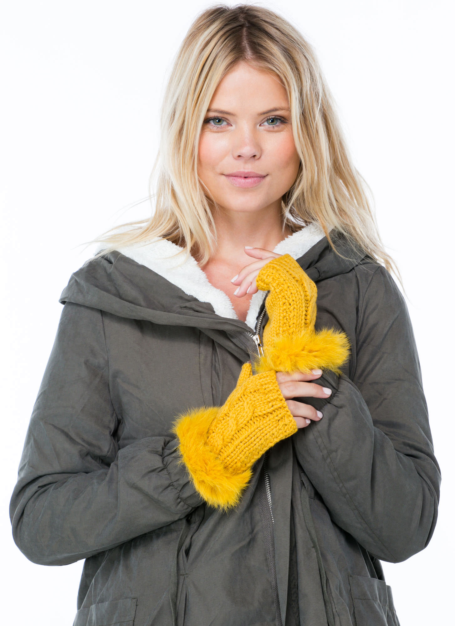 Furry Cable Fingerless Mittens MUSTARD