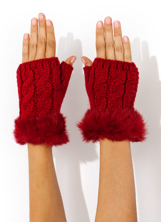 Furry Cable Fingerless Mittens RED (Final Sale)