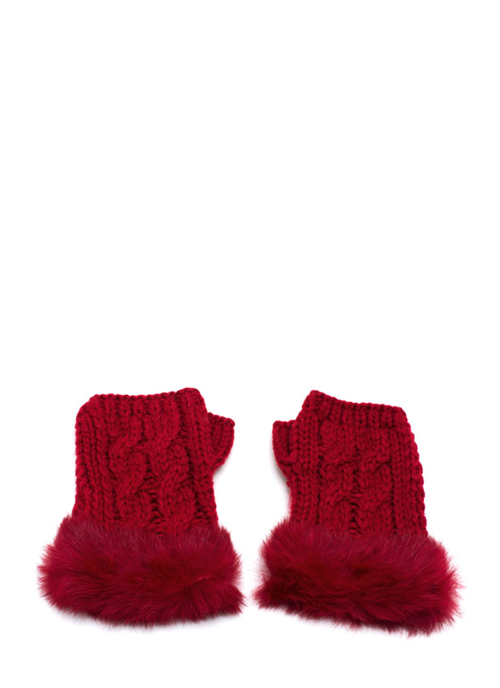 Furry Cable Fingerless Mittens RED