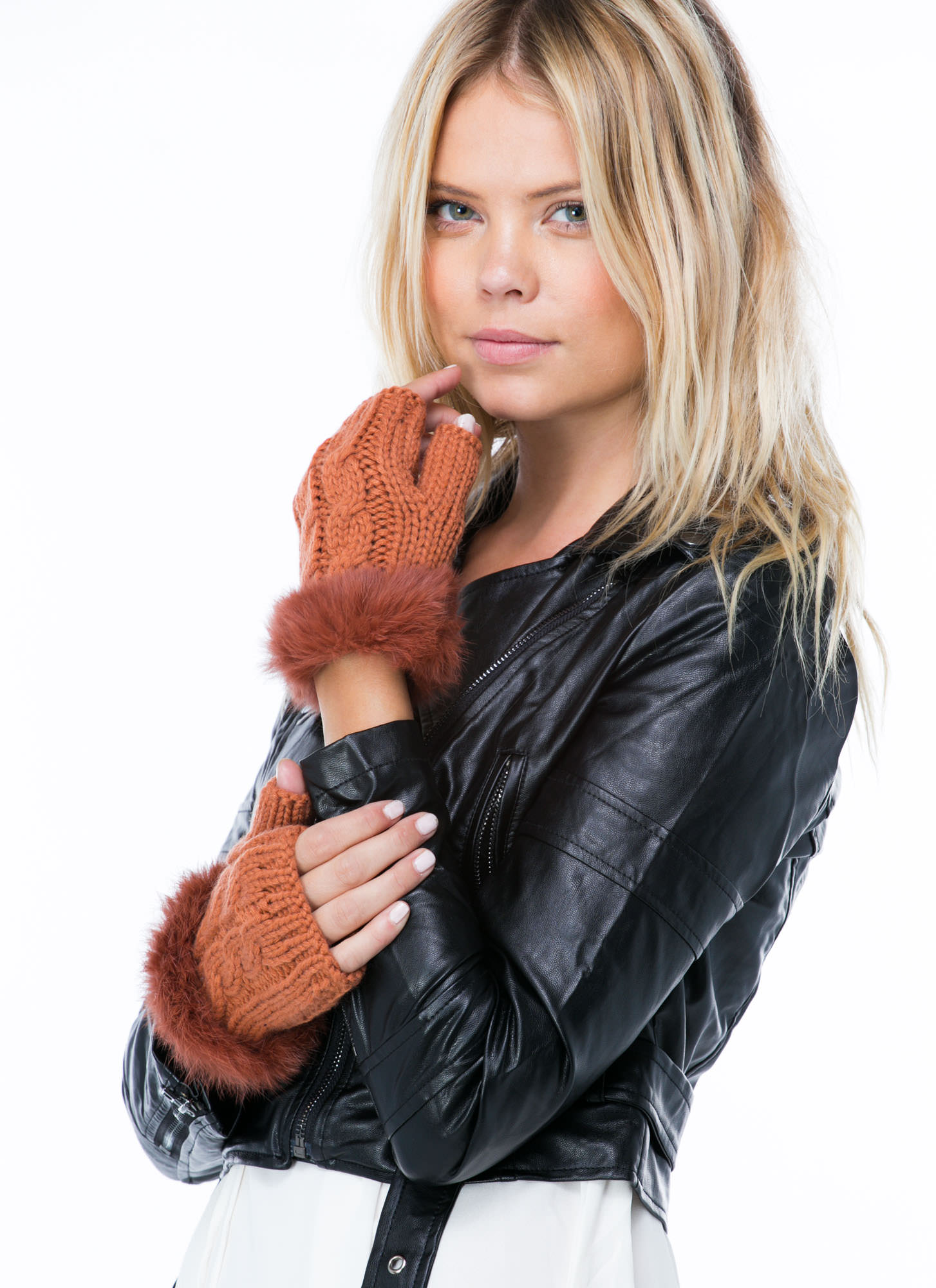Furry Cable Fingerless Mittens RUST (Final Sale)