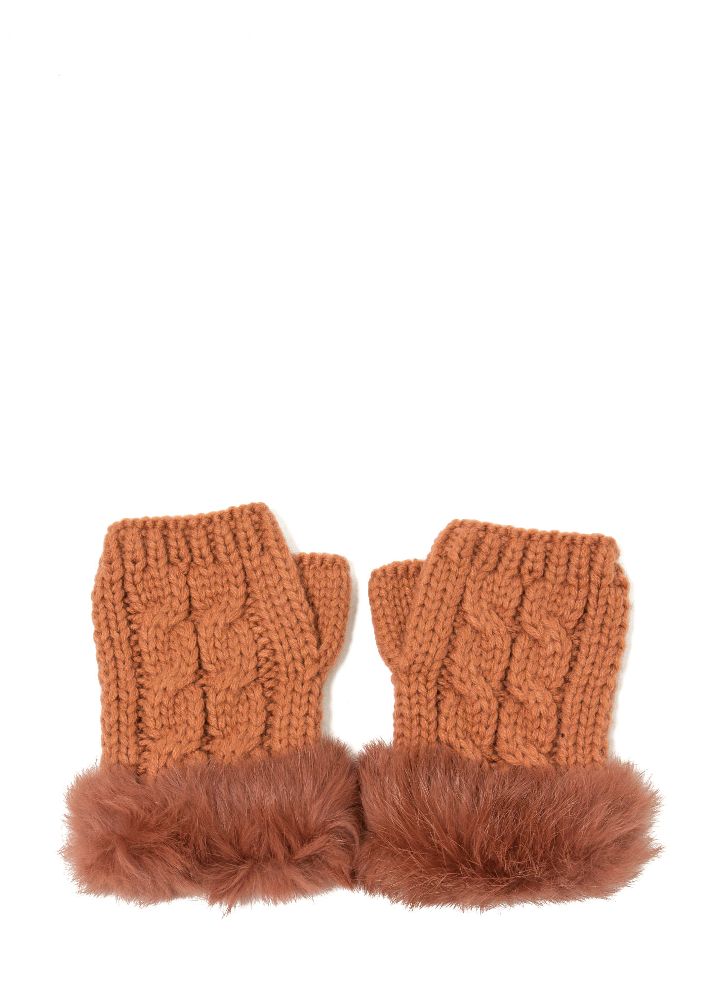 Furry Cable Fingerless Mittens RUST