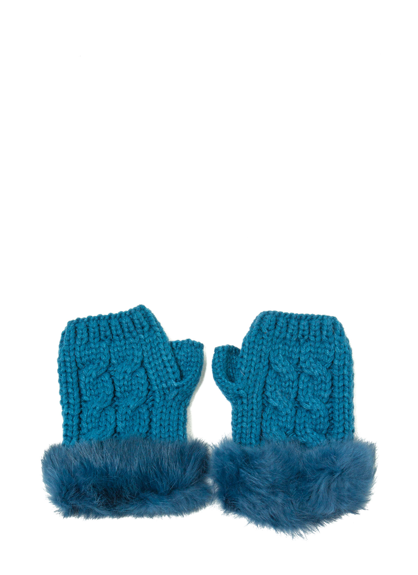 Furry Cable Fingerless Mittens TEAL