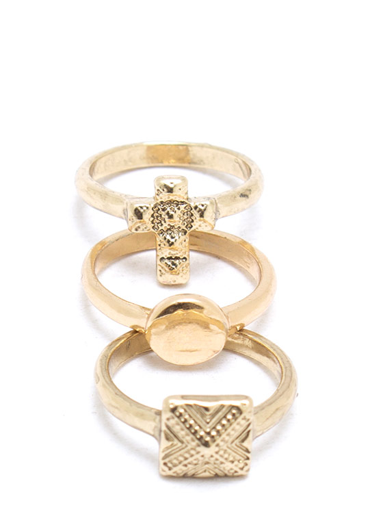 Faith In Symbols Trio Midi Ring GOLD