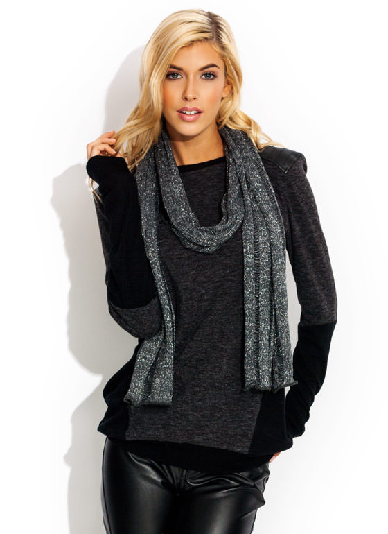 Metallic Open Knit Scarf SILVER
