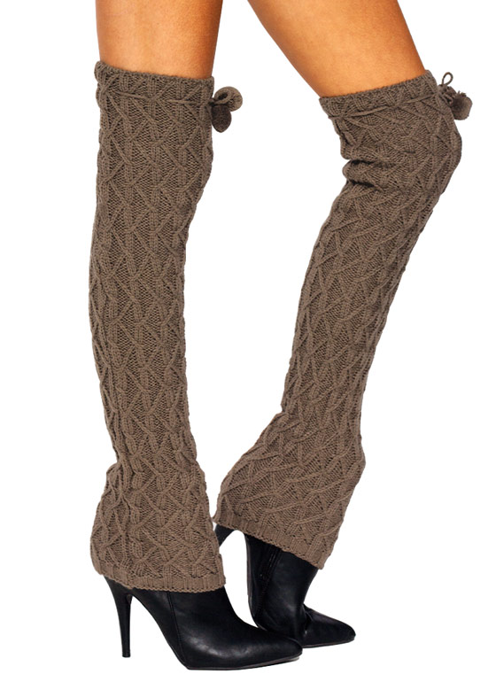 Pompom Knit Legwarmers BROWN