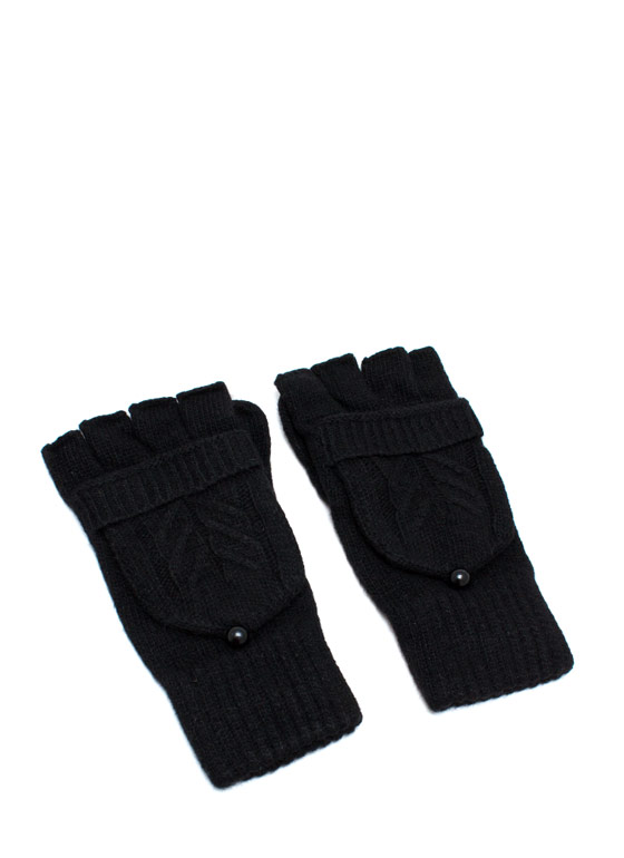 Convertible Fingerless Gloves BLACK