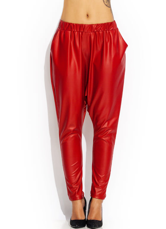 Drip Dropped Harem Pants RED