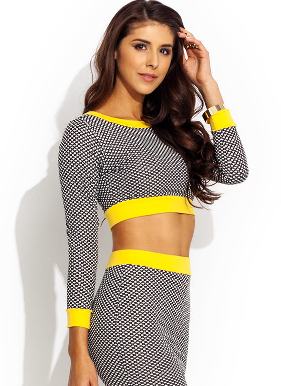 Spot Check Trimmed Cropped Top YELLOWBLK