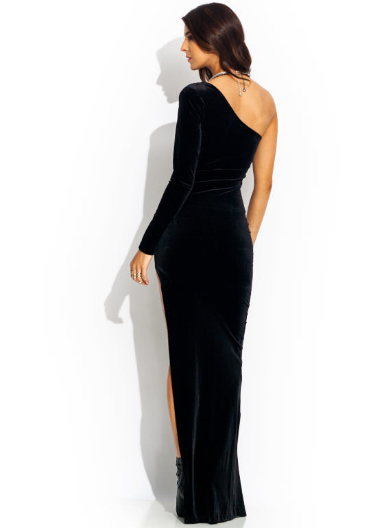 Take Sides Velvet Maxi Dress BLACK