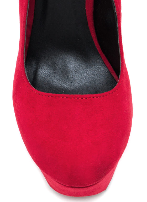 Ankle Strap Platform Pumps RED