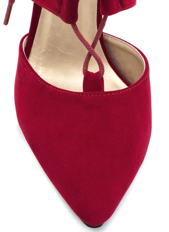 Point Slope Faux Suede Heels RED