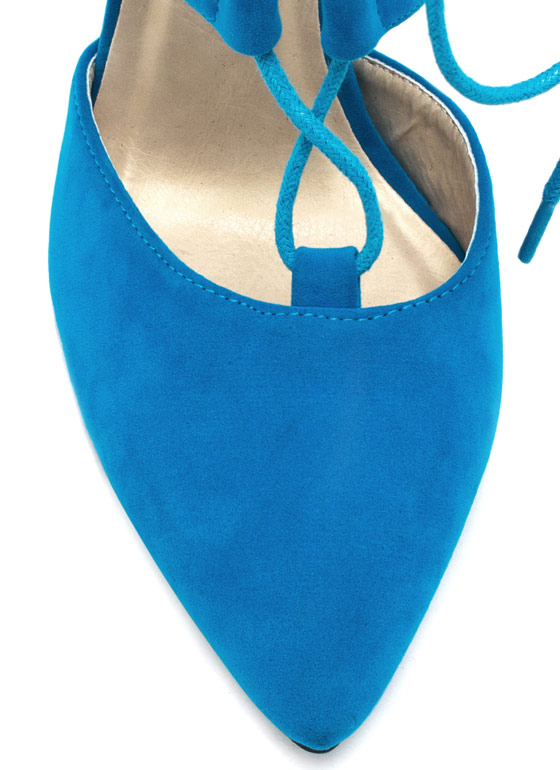 Point Slope Faux Suede Heels TURQUOISE