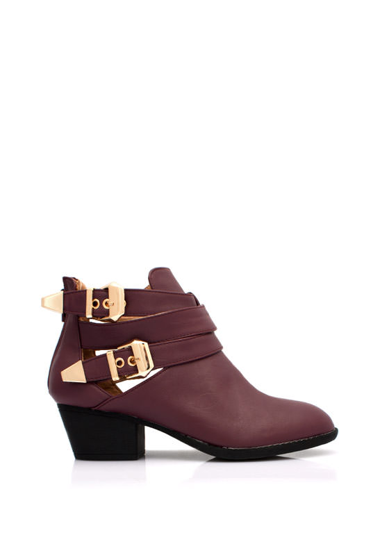 Straparound Cut Out Buckle Boots OXBLOOD