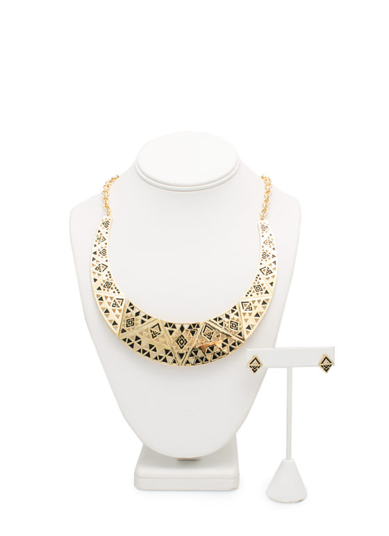 A Cute Collar Necklace Set GOLDBLACK