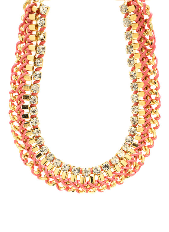 Interwoven Layered Chain Necklace Set PINKGOLD