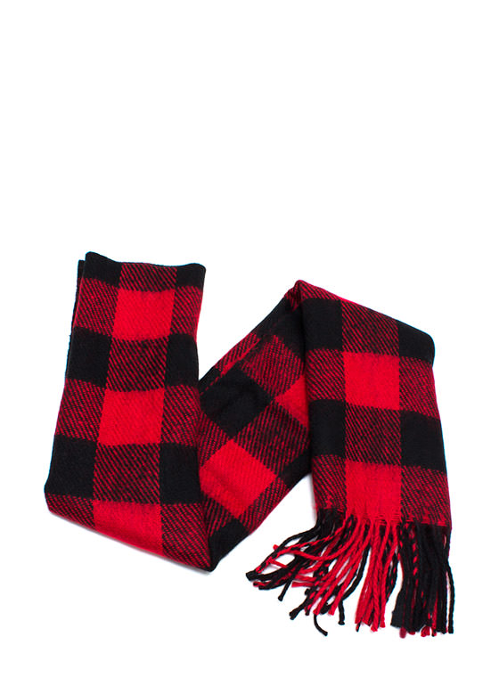Mad Plaid World Fringe Scarf REDBLACK