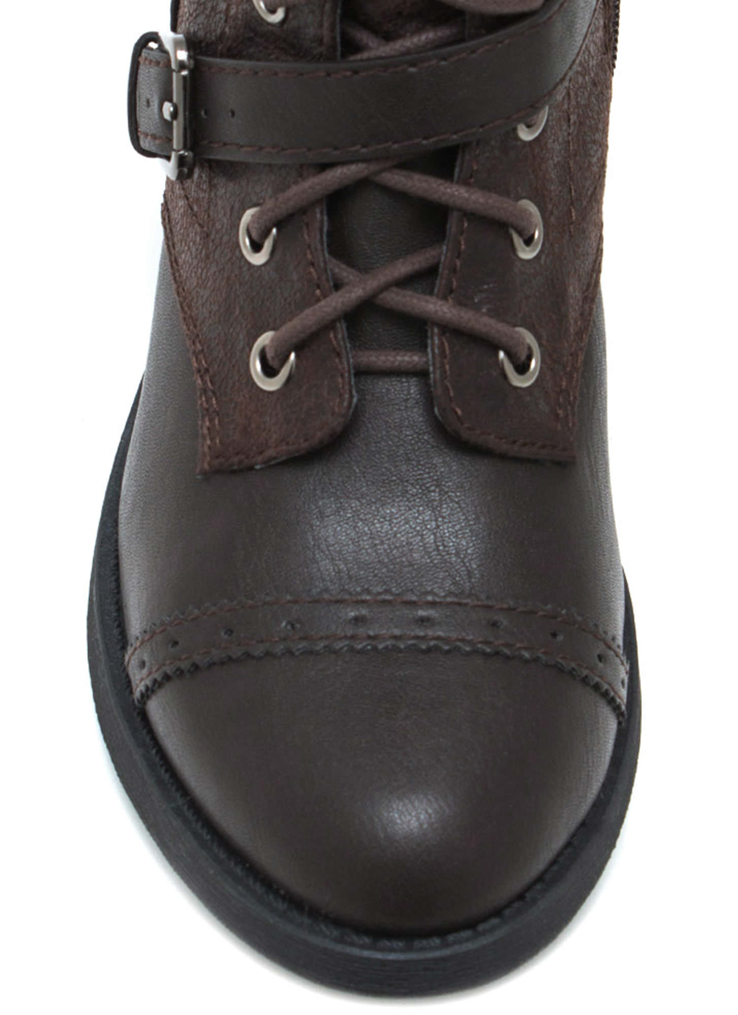 Higher Me Lace Up Boots DKBROWN