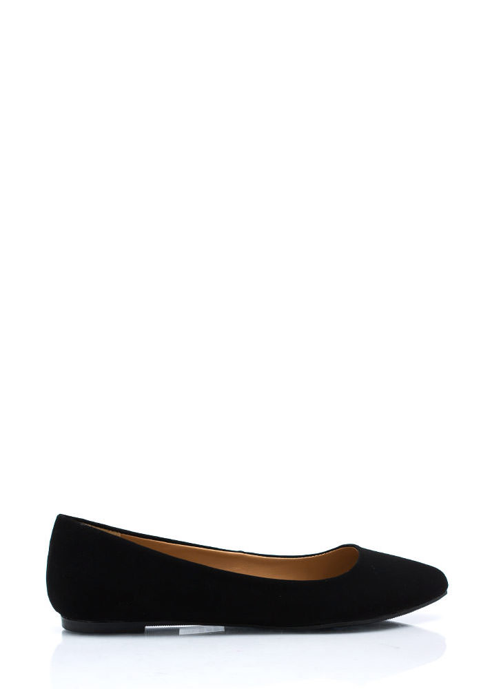 Point Taken Faux Nubuck Flats BLACK