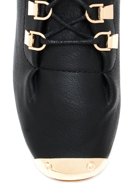 Faux Leather D Ring Ankle Boots BLACK