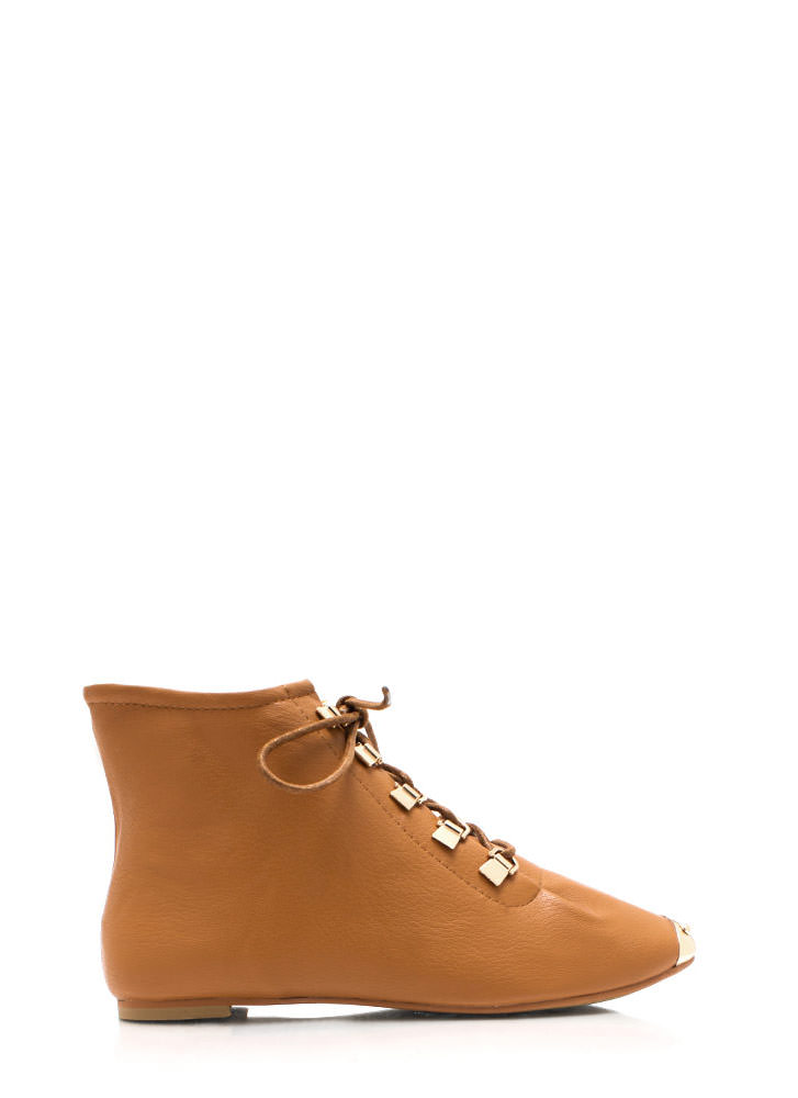Faux Leather D Ring Ankle Boots CAMEL