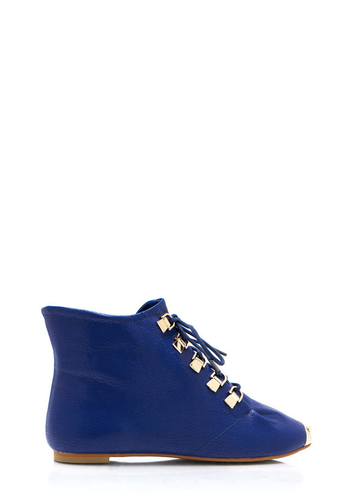 Faux Leather D Ring Ankle Boots ROYALBLUE