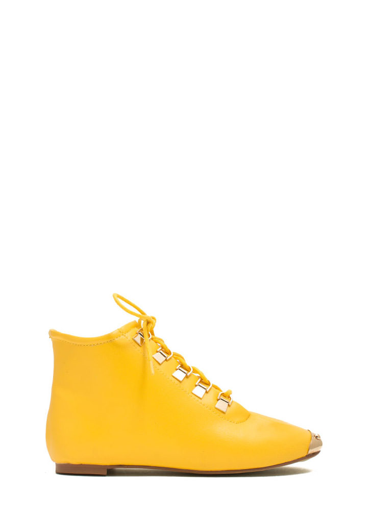 Faux Leather D Ring Ankle Boots YELLOW