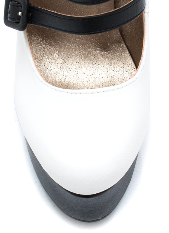 Contrast Stitch Em Up Pumps WHITE