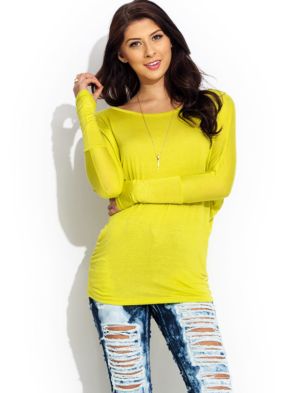 Arm Bandy Dolman Tunic Top CITRON